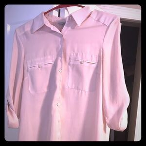 Pink sheer button-down